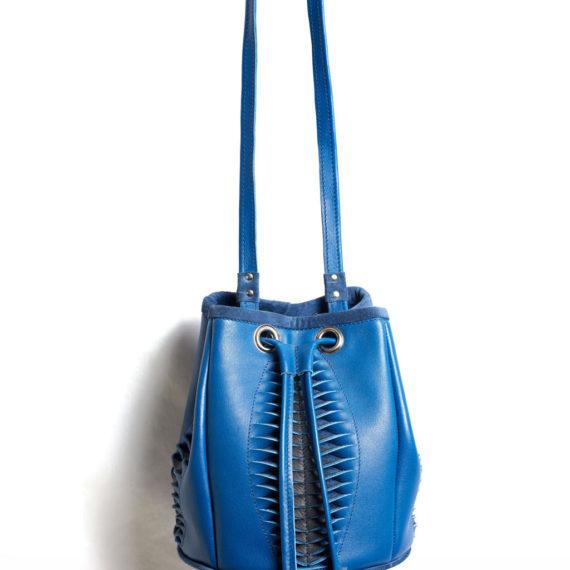 sac saut  à main en cuir bleu