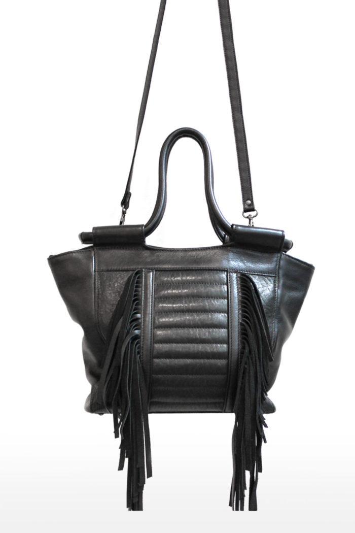 sac à main avec  franges  en cuir noir